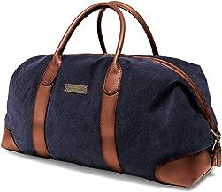 DRAKENSBERG Duffel Weekender - große Reisetasche im Retro-Vintage-Design, Damen und Herren, handgemacht in Premium-Qualität, 60L, Canvas und Leder