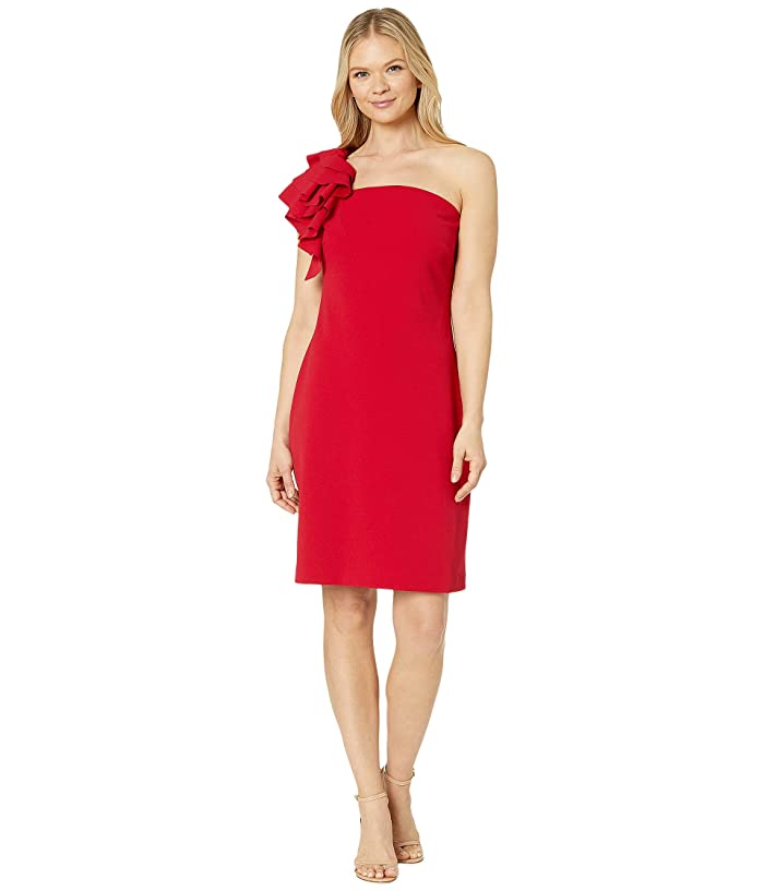 Vince Camuto  Asymmetrical Tiered One-Shoulder Crepe Ponte Dress (Tulip Red) Womens Dress