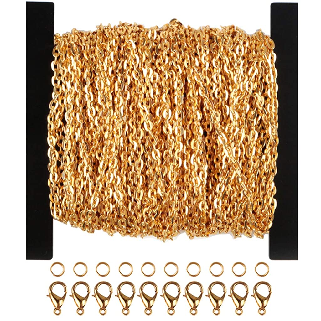 WUBOECE 39 Feet Curb Chain Necklace Bulk Cable 2mm Width with 30 Lobster Clasps and 100 Open Jump Rings for Jewelry Making, Gold