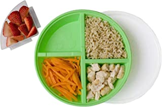 BPA-Free Divided Plates for Kids with Lids [2-Pack] – Microwave & Dishwasher Safe Lunch Containers with Lids for Balanced Meals – Plates with Dividers & Removable Fruit Section [Green/Orange]
