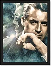Doppelganger33 LTD Painting Portrait Movie Film Legend Cary Grant Smoking Large Framed Art Print Poster Wall Decor 18x24 inch Supplied Ready to Hang