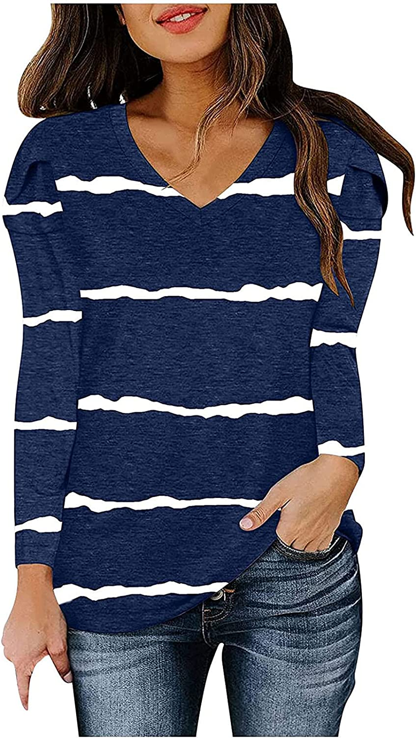Womens Fall Stripe Print Tops Casual Long Sleeve V-Neck Shirt Loose Fit Workout Tunic Blouse Sport Pullover Comfy Tee