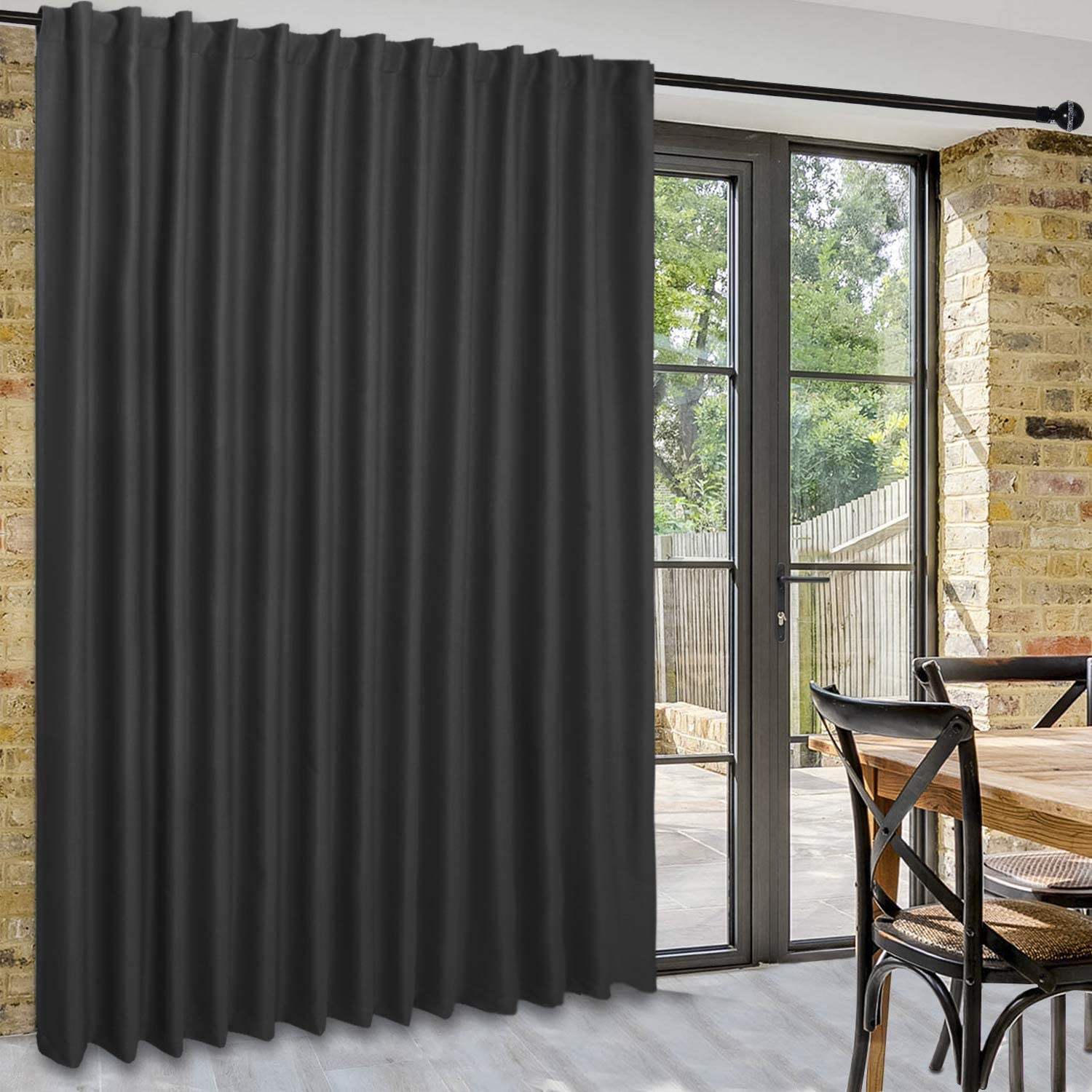 Amazon Com Dwcn Patio Sliding Door Curtains Extra Wide Curtains For Glass Door Privacy Room Divider Blackout Thermal Curtain Panel With Back Tab Rod Pocket For Bedroom Partition 80 X 84