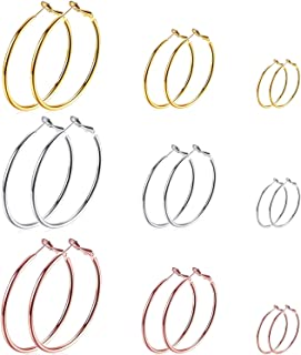9 Pairs Big Gold Silver Rose Gold Plated Hoop Earrings...