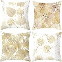 Origin & Home Top Finel Decorative Throw Pillow Covers with Soft Covers 18 X 18 for Couch Bedroom Car, Pack of 4 (Gold and White)