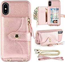 LAMEEKU Wallet Case for iPhone Xs and iPhone X 5.8 inches, Credit Card Holder Leather Wallet Case with Crossbody Strap Wrist Strap Zipper Leather Case Compatible with iPhone Xs/X, 5.8 inches-Rose Gold