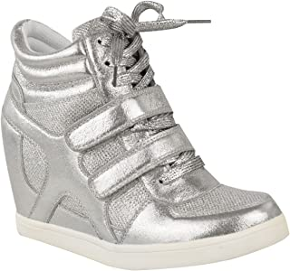 Fashion Thirsty Womens Hi Top Wedge Sneakers Trainers Sport Ankle Boots