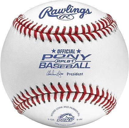 Rawlings Bola de beisebol com costura elevada, liga de pônei de beisebol, caixa com 12, RPLB1