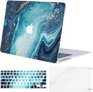 MOSISO MacBook Air 13 inch Case (A1369 & A1466, Older Version 2010-2017 Release), Plastic Creative Wave Marble Hard Shell Case&Keyboard Cover&Screen Protector Only Compatible with MacBook Air 13, Blue