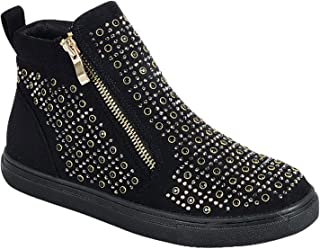 Easter Special Sale Kate Glittery Studded High Top Sneaker for Women Teen Girls (Assorted Colors