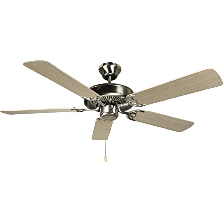 Amazon Com Hyperikon 42 Inch Ceiling Fan No Light 55w Remote Control And Pull Chain Brushed Nickel Body 5 Blades Birch Kitchen Dining