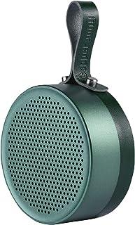 Portable Bluetooth Speaker WirelessTravel Outdoor Sport IPX5 Waterproof Speakerphone Hi-Def Bass Sound, Hanging Leather Metal Shower Speaker, Built-in Mic for Home, Beach, Hiking, Camping -Green