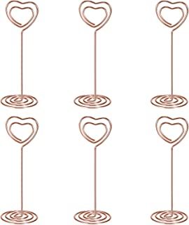 Shappy 24 Pack of Table Number Card Holders Photo Holder Stand Place Card Paper Menu Clips Holders, Heart Shape (Rose Gold)