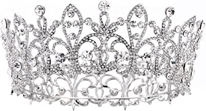 Eseres Princess Tiara Full Round Wedding Crown for Brides Women Birthday Crown …