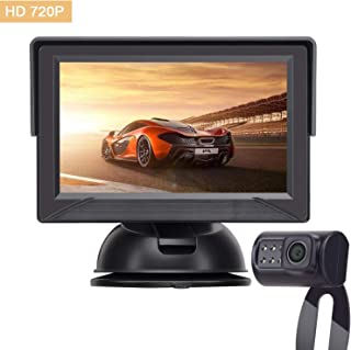 Yakry Backup Camera System 4.3 '' Monitor for Truck / Car / Pickup / Camper / SUV IP69K Waterproof Rear View / Front View Camera Connecting Single Power Reversing / Driving Use Night Vision