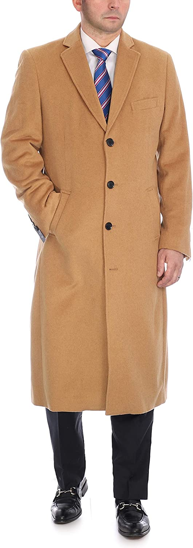 Men's Wool Cashmere Single Breasted Full Length Overcoat Top Coat