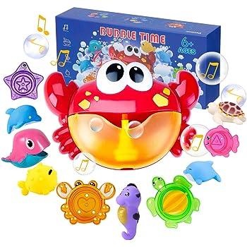 Joyjoz Jouets de Bain Crab Bubble Bath Toys Squirters de Bain Tasses empilables Machine à Bulles avec de la Musique pour Les Tout-Petits