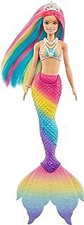 Barbie Dreamtopia poupée Sirène Magique avec Chevelure Arc-en-Ciel, change de couleur dans l'eau, jouet pour enfant, GTF89