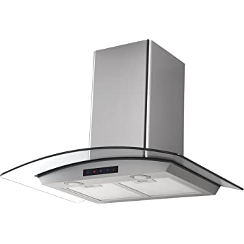 Kitchen Bath Collection 30-inch Wall-mounted Stainless Steel Range Hood with Arched Tempered Glass & Touch Screen Control Panel, Carbon filters included.
