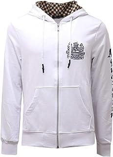 Aquascutum 2585AE Felpa Uomo White Full Zip Cotton Sweatshirt Man
