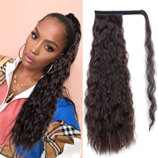 Stamped Glorious Corn Wave Ponytail Extension Wrap Around Ponytail Extensions Long Black Mixed Auburn Brown Color Wavy Synthetic Magic Paste Ponytail Hair Piece for Women (2/33#)