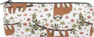 Tropical Funny Baby Sloth Pencil Pen Bag,Flowers Animal Barrel Cotton Pencil Pouch Case Holder School Supplies Teens