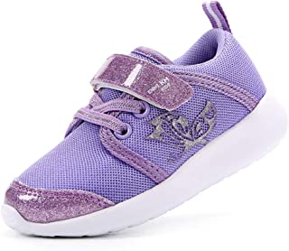 EIGHT KM Boys and Girls Toddler Kids Lightweight Breathable Fly Knitted Sparkly Velcro Sneakers School Shoes 2019 Thanksgiving