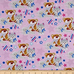 Mook Fabrics Fox/Sheep/Bear Flannel Allover Fabric, Pink, Fabric By The Yard