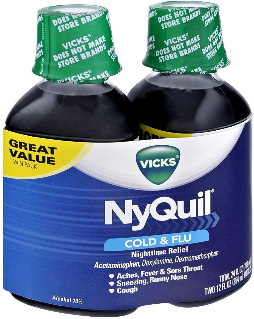 Vicks NyQuil Cold Flu Nighttime Orig Washington Mall Liquid Pack Relief Animer and price revision Twin