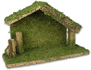 BANBERRY DESIGNS Stable Nativity Creche for The Holy Family Christmas Decor Wood and Moss 5