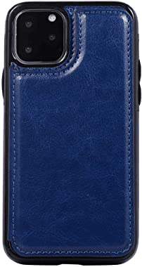 OOALUCK Leather Cover Compatible with iPhone 11 Pro Max, Blue Wallet Case for iPhone 11 Pro Max