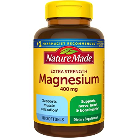 Nature Made Extra Strength Magnesium Oxide 400 mg, Dietary Supplement for Muscle Support, 110 Softgels, 110 Day Supply