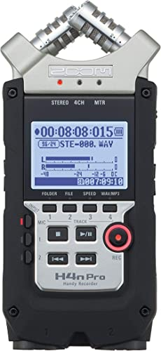 "Zoom H4n Pro 4-Track Portable Recorder, Stereo Microphones, 2 XLR/ ¼"" Combo Inputs, Guitar Inputs, Battery Powered, f..."