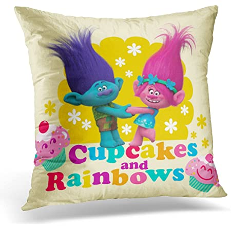 Amazon Com Vanmi Throw Pillow Cover Pink Troll Poppy Amp Branch Cupcakes And Colorful Dreamworks Decorative Pillow Case Home Decor Square 20x20 Inches Pillowcase Home Kitchen