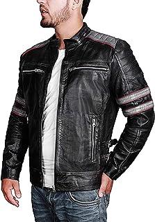 3fc808e0aff Mens Retro Vintage Style Distress Black Biker Leather Jacket Motorcycle  Costume