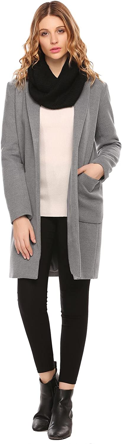 Elever Plus Size Blended Coat Women Casual Long Pea Coat Trench Button Cardigan Pockets for Spring Fall Winter