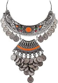 Ethnic Fashion Handmade Statement Tibetan Indian Afghani Tribal German Silver Oxidized Coins Choker Necklace for Women Girls