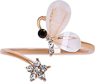 MOONSTONE Fashion Ring For Women Elegant Pear Cut Butterfly Crystal Acrylic, Adjustable Size, Rose Gold Plated