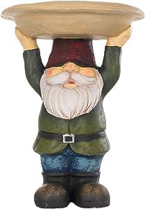 Transpac Gnome Holding Bowl Overhead Natural Green 15 x 12 Resin Stone Birdbath