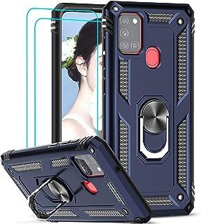 LeYi für Samsung Galaxy A21S Hülle mit Panzerglas Schutzfolie(2 Stück),360 Grad Ring Halter Handy Hüllen Cover Bumper Schu...