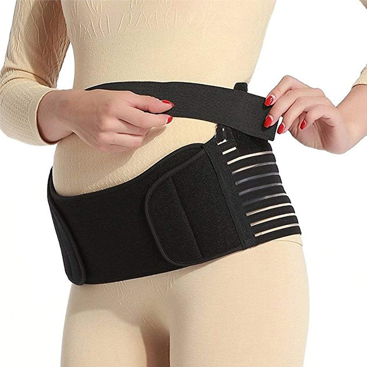 原子炉スカリードレイン通気性マタニティベルト妊娠中の腹部サポート腹部バインダーガードル運動包帯産後の回復shapewear - ブラックM