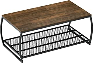 Vintage Coffee Table Cocktail Table with Storage Shelf for Living Room and Office, Dark Walnut