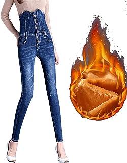 LBBL Jeans Cintura Alta, Pantalones Elásticos Talla Grande Mujer Control Barriga Levantamiento Glúteos Push Up Tejido Lana...