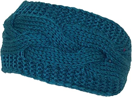 2b52554c Best Winter Hats Solid Color Cable & Garter Stitch Knit Headband (One Size)