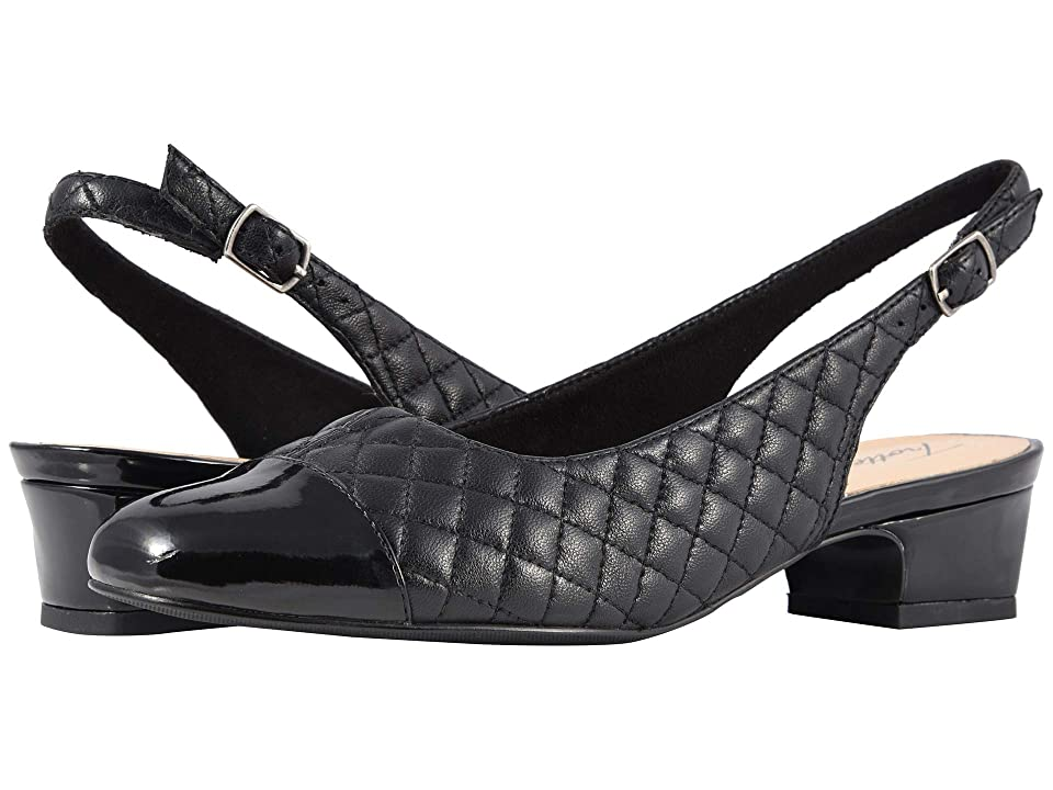Trotters Dea (Black Soft Quilted Leather/Patent) Women