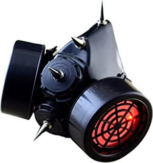 TrYptiX Men's LED Spiked Cyber Goth Respirator Gas Mask