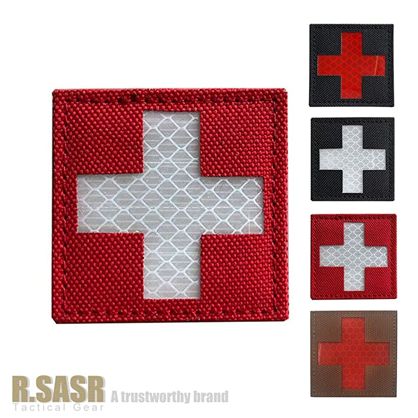 R.SASR Bundle 4 Pieces - Reflective Medic Patches, Tactical Medical Patches, Hook-Fastener Backing (Mix)
