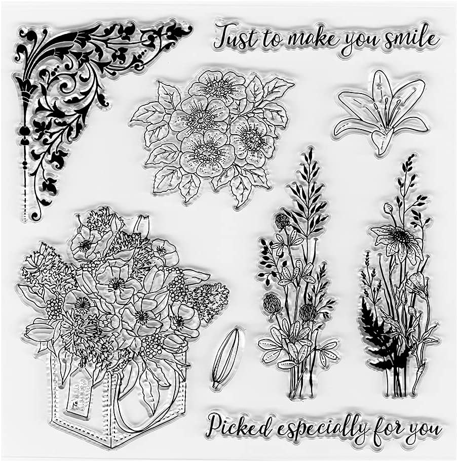 Gift Flower Bouquet Clear Stamps for Making Free shipping on posting reviews Card safety DIY Decoration