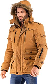 Yozai Mens Winter Military Warm Jacket Fleece Coat with Detachable Fur Hood Outwear