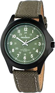 Peugeot Black Aviator Watch, 24Hr Time Markers, Water-Resistant with Canvas Strap